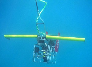 USGS Acrobat with HS camera payload being towed among coral reefs.