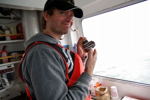 Dr. Peter Winsor taking a Casagrande coffee break during an Acrobat tow in Alaska waters.